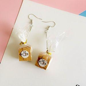 Bread earrings hanging silver novelty gift food